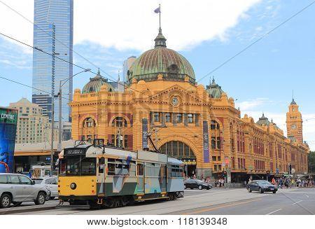Melbourne tram Flinders Street Station Australia