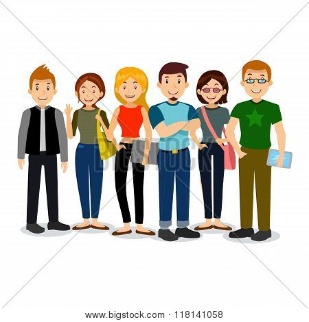 Set of diverse college or university students. Vector group of students. Cartoon illustration of stu