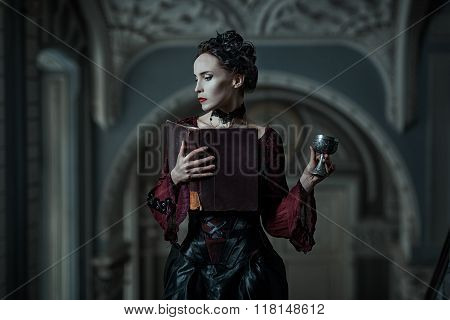 Mystic woman with book and cup in the Gothic style. poster