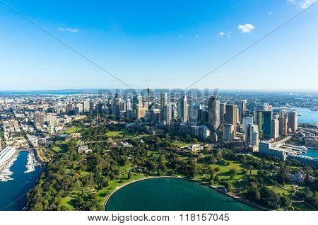 Aerial view Sydney Central Business Districs and Royal Botanic Gardens. View on Sydney harbourside suburbs from above. Aerial view on Sydney harbourside Sydney CBD Sydney Royal Botanic Gardens
