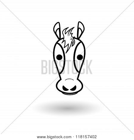 Hors head on a white background