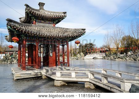 A Pavilion in a Historic Traditional Garden of Beijing, China in winter, during Chinese New Year