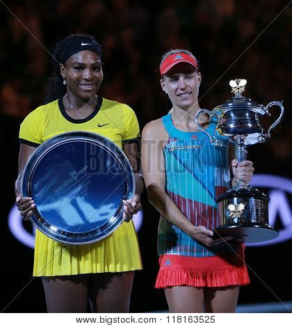 Australian Open 2016 finalist Serena Williams and Grand Slam champion Angelique Kerber of Germany