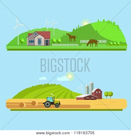 Farm Life: Natural Economy, Agriculture,  Harvesting, Life In The Countryside, Rural Landscapes With