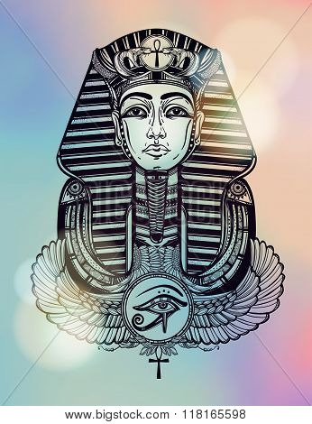 Vintage tattoo vector pharaoh with winged Ankh.