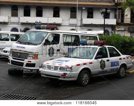 Broken Police Car In Panama