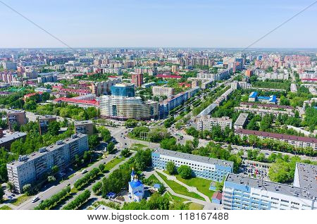 Aerial view onto univercity on crossroad. Tyumen. Russia