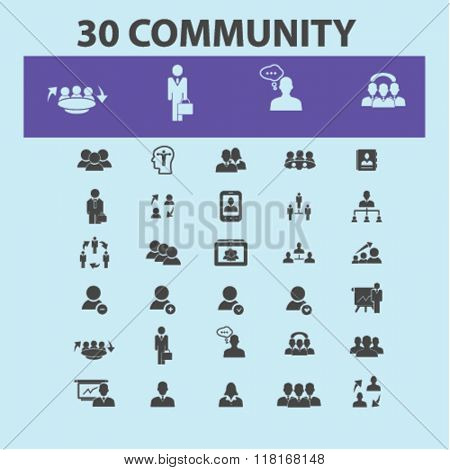 community concept, human resources icons, community icons, management icons