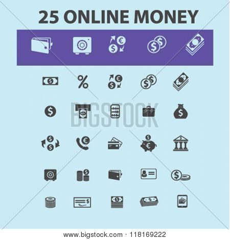 online money, money logo, money concept, banking icons, money background