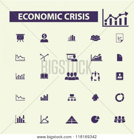 economic crisis icons, market analytics icons, economic crisis concept