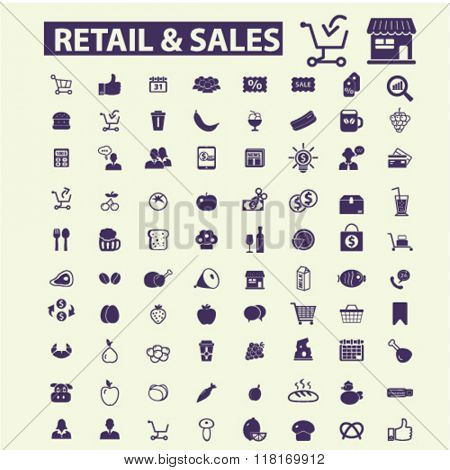 retail, sales icons, supermarket, shopping icons