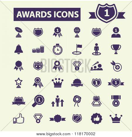 awards icons, award concept, award trophy, achievement, award ribbon, trophy, prize icons