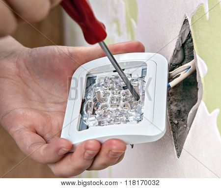 Repair Of Home Wiring, Installing A New Light Switch, Close-up.