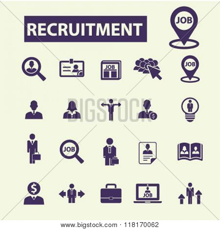 recruitment icons, headhunter icon, Job icons, recruitment concept
