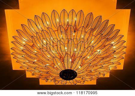 Beautiful elegant crystal chandelier interior at hotel
