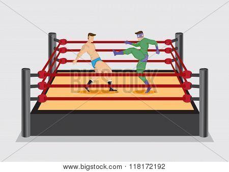 Entertainment Wrestlers Kicks Opponent In Wrestling Ring Vector Illustration