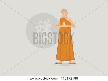 Buddhist Monk And Zen Symbol Vector Illustration