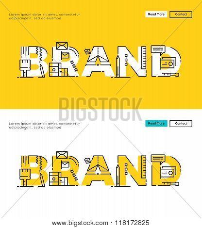 Modern Flat line design concept of Branding and Brand Design. Flat line design for Website Element ,