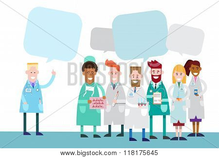 Group Medial Doctors Team Work With Copy Space Chat Bubble