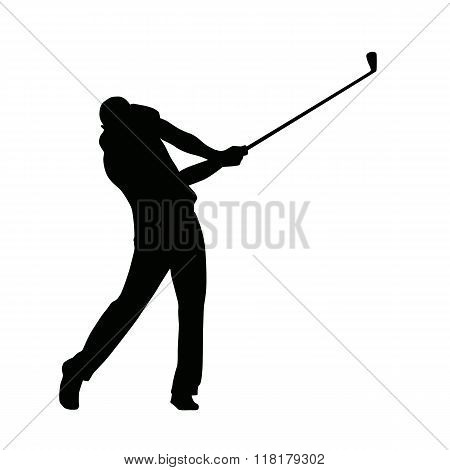 Golf Player Silhouette, Vector Isolated Golfer