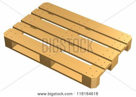 Wooden Pallet, Isolated On White Background.