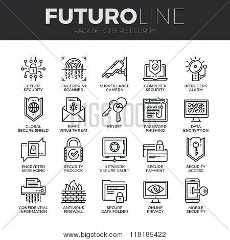 Cyber Security Futuro Line Icons Set