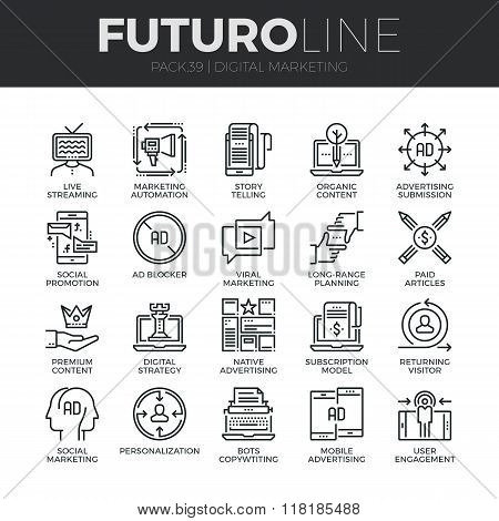 Digital Marketing Futuro Line Icons Set