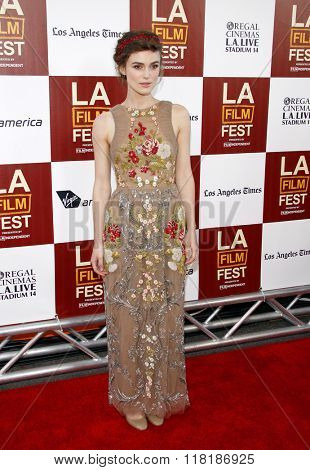 Keira Knightley at the 2012 Los Angeles Film Festival premiere of