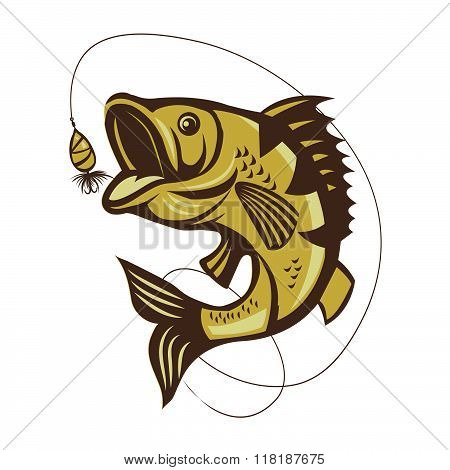 Catching Bass Fish. Fish Color. Vector Fish. Graphic Fish. Fish On A White Background. Fish On A Light Background. Bassfish. Fisherman. Fishing. Recreation Fishing. Big Fish. Fish Jumping. Beautiful.
