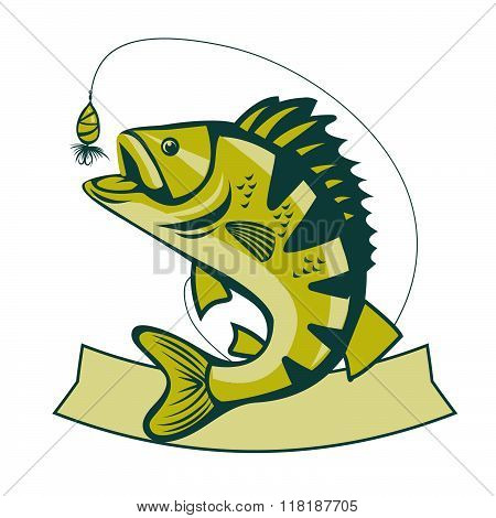 Catching Bass Fish. Vector Fish Color. Graphic Fish. Fish On A White Background. Bassfish. Bass Fishing Tournaments. Recreation Fishing. Big Fish. Fish Jumping. Beautiful Fish. Bass Fishing Tackle. poster
