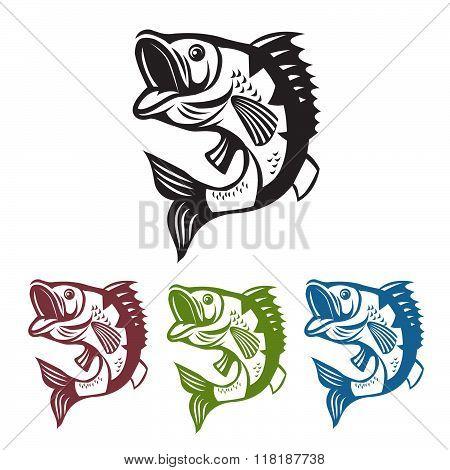 Catching Bass Fish. Vector Fish Color. Graphic Fish. Fish On A White Background. Bassfish. Bass Fishing Tournaments. Recreation Fishing. Big Fish. Fish Jumping. Beautiful Fish. Template Bass Fish.