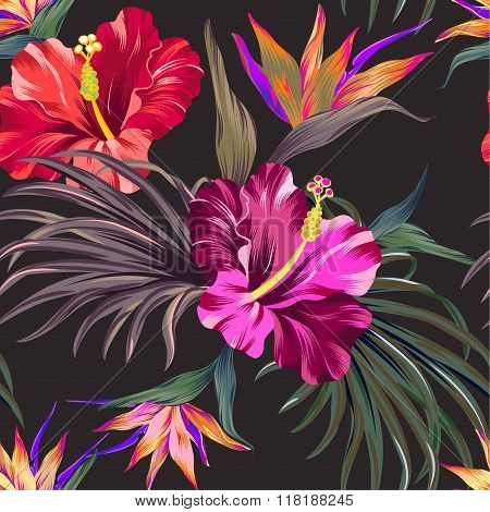 amazing tropical flowers patten. seamless design with gorgeus botanical elements, hibiscus, palm, bird of paradise on animal spots background. Vector editable file