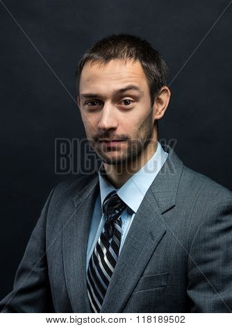 Businessman winking