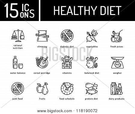 Healthy diet icons, healthy dieting icon, rational nutrition icons, slimming loss weight, healthy lifestyle, balanced diet eating, organic food, vegetarian food, protein diet, heakthy diet concept poster