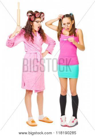 Angry mother and worried daughter with pregnancy test isolated poster