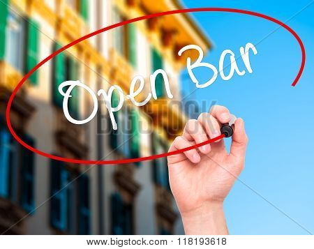 Man Hand Writing Open Bar With Black Marker On Visual Screen
