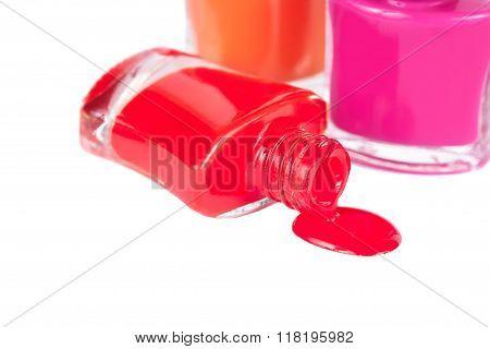 Three Multi-colored Nail Polish