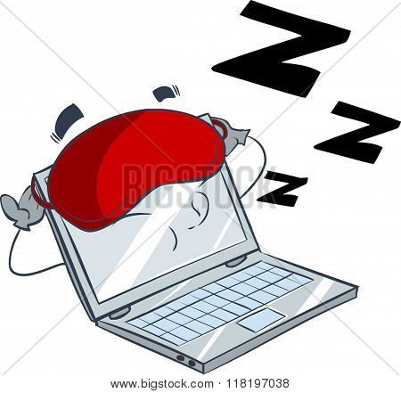 white background vector illustration of a sleeping computer