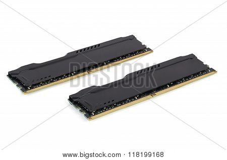 Modern RAM memory modules with black radiator isolated on white background with clipping path poster