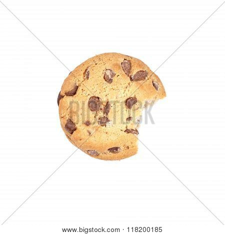 chocolate chip cookie bitten into