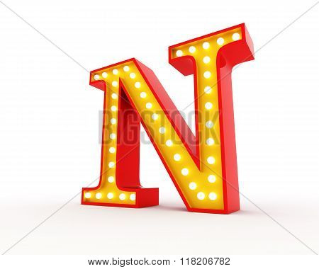 Broadway style light bulb alphabet 3d redering