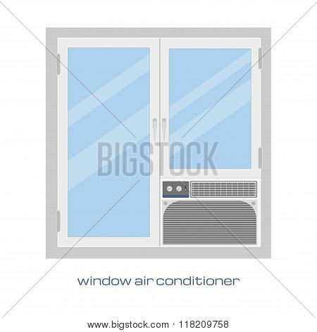 Window air conditioner. Isolated vector image. Window air conditioner in a flat style for your desig