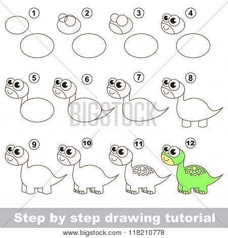 Brontosaurus. Drawing tutorial.