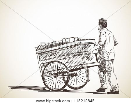 Sketch of hawker with cart, Hand drawn illustration