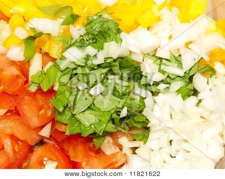 Vegetable Salad Ingredients Close Up