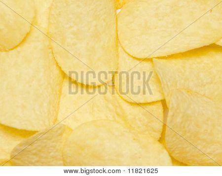 Dried Potatoe Chips Closeup