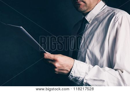 Tax Inspector Doing Financial Auditing, Businessman Reading Business Report