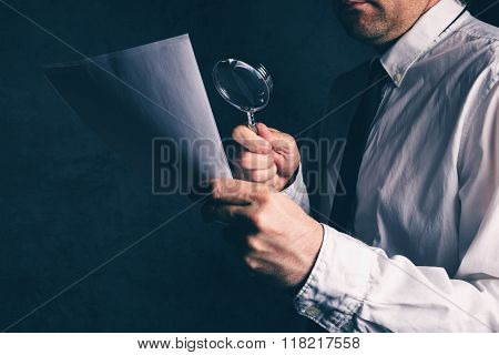 Tax Inspector Doing Financial Auditing, Businessman Reading Contract Footnotes Disclaimer