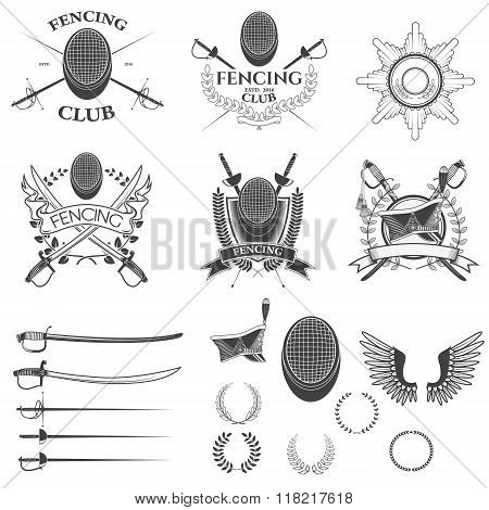 Set Of Fencing Club Labels