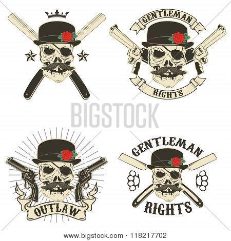 Set Of Outlaw T-shirt Print Design Templates
